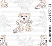 seamless pattern with cute hand ...   Shutterstock .eps vector #1008477475
