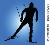 silhouette cross country skiing ...   Shutterstock .eps vector #1008484297