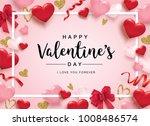 happy valentine's day poster...   Shutterstock .eps vector #1008486574