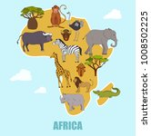 map of african animals and lion ... | Shutterstock .eps vector #1008502225