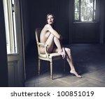 Beautiful Naked Woman Sitting...
