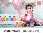 baby girl cake smash | Shutterstock . vector #1008517441
