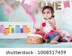 baby girl cake smash | Shutterstock . vector #1008517459