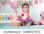 baby girl cake smash | Shutterstock . vector #1008517471