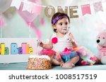 baby girl cake smash | Shutterstock . vector #1008517519