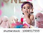 baby girl cake smash | Shutterstock . vector #1008517555