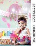 baby girl cake smash | Shutterstock . vector #1008531229