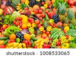 assorted fresh ripe fruits and... | Shutterstock . vector #1008533065