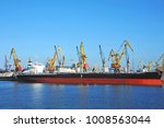 bulk cargo ship under port... | Shutterstock . vector #1008563044