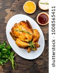 roasted chicken with rosemary... | Shutterstock . vector #1008565411