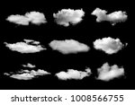 set of white cloud on black | Shutterstock . vector #1008566755