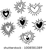 set of heart with ray doodles | Shutterstock .eps vector #1008581389