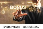 bonus text with businessman on... | Shutterstock . vector #1008583357