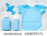 blue baby clothes for little... | Shutterstock . vector #1008595171