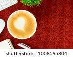 a latte coffee with art heart... | Shutterstock . vector #1008595804
