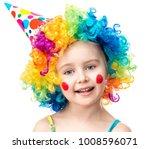 little girl in clown wig... | Shutterstock . vector #1008596071