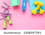 fitness background. equipment... | Shutterstock . vector #1008597391