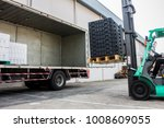 the worker loading pallet with...   Shutterstock . vector #1008609055