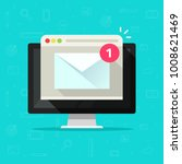 new email on computer vector... | Shutterstock .eps vector #1008621469