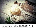 dough with flour on an old... | Shutterstock . vector #1008621814
