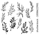 hand drawn tree branches with... | Shutterstock .eps vector #1008622981