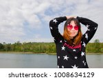 happy girl with sky and... | Shutterstock . vector #1008634129