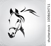 Silhouette of the head horse - stock vector