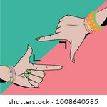 woman hands doing cropping... | Shutterstock .eps vector #1008640585