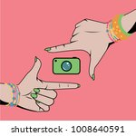 woman hands doing cropping... | Shutterstock .eps vector #1008640591
