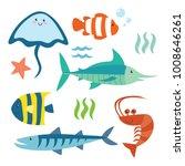 deep ocean fish cartoon. cute... | Shutterstock .eps vector #1008646261