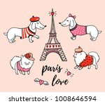 French Style Dogs And Eiffel...
