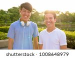 portrait of young asian man and ... | Shutterstock . vector #1008648979
