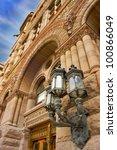 Stock photo street light on old city hall downtown torornto 100866049