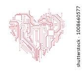 circuit board heart symbol....   Shutterstock .eps vector #1008660577