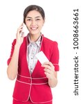 Small photo of Portrait of Attractive Asian Air Hostess holdong card with White background, Woman stand and smile at isolated on white background, Woman with Air Hostess concept.
