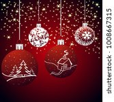 christmas background with balls ... | Shutterstock . vector #1008667315