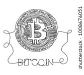 bitcoin drawn with a continuous ... | Shutterstock .eps vector #1008676051