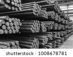rows of steel round bar storage ... | Shutterstock . vector #1008678781
