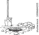 shovel and hole in the ground...   Shutterstock .eps vector #1008684355