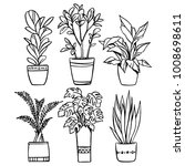 vector set of house plants in... | Shutterstock .eps vector #1008698611