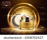 hydrating cream ads  golden... | Shutterstock .eps vector #1008702427