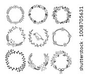 printhand drawn wreaths graphic ... | Shutterstock .eps vector #1008705631