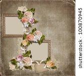 vintage background with frames... | Shutterstock . vector #100870945