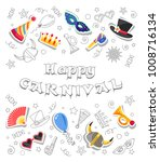 happy carnival. greeting card... | Shutterstock .eps vector #1008716134