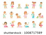 adorable smiling babies and... | Shutterstock .eps vector #1008717589