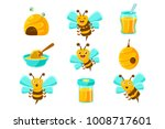 honey bees  beehives and jars... | Shutterstock .eps vector #1008717601
