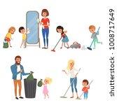 children helping their parents... | Shutterstock .eps vector #1008717649