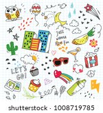 set of colorful doodle on paper ... | Shutterstock .eps vector #1008719785