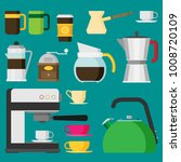 coffee icons  flat design... | Shutterstock .eps vector #1008720109