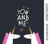 cute unicorns  love sign  stars.... | Shutterstock .eps vector #1008720655